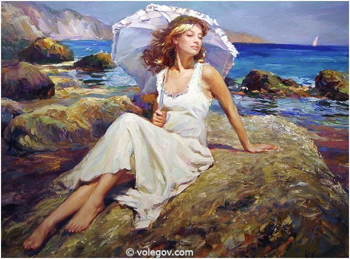 White Dressed Women Painting
