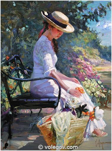 AT MONET GARDEN, Painting,