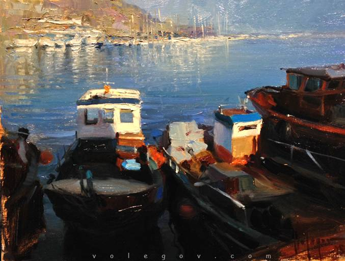 Fishing boats of arenys de mar painting for Fishing boat painting